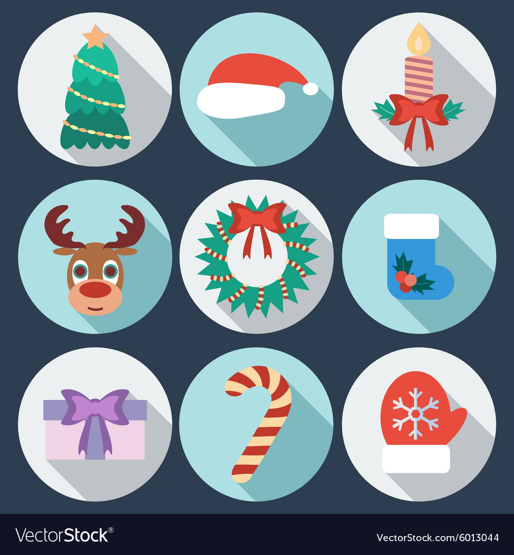 Set of New Year and Christmas icons Flat design