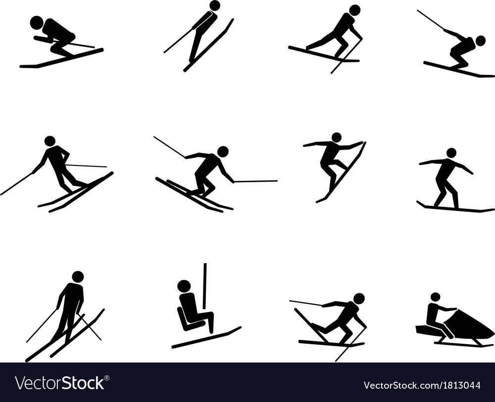 Ski icons set vector image