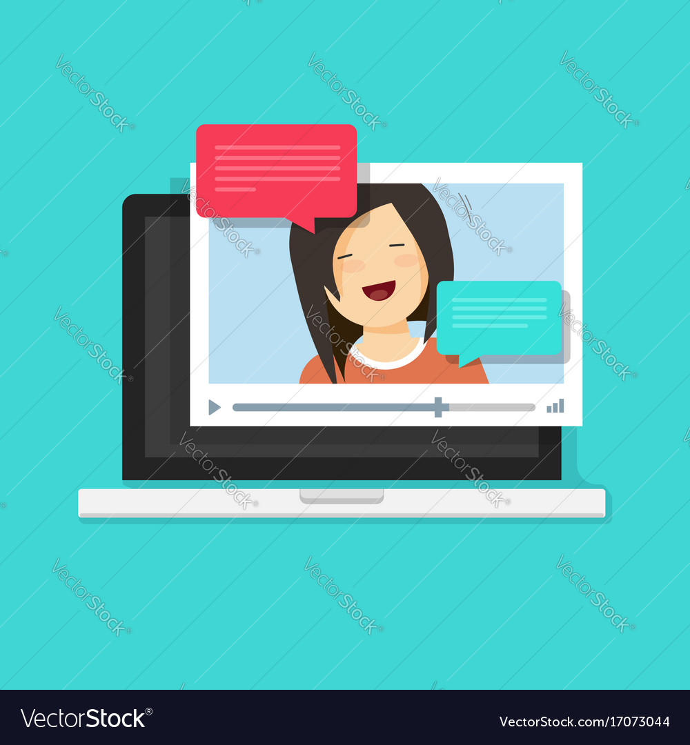 Video chatting online on computer