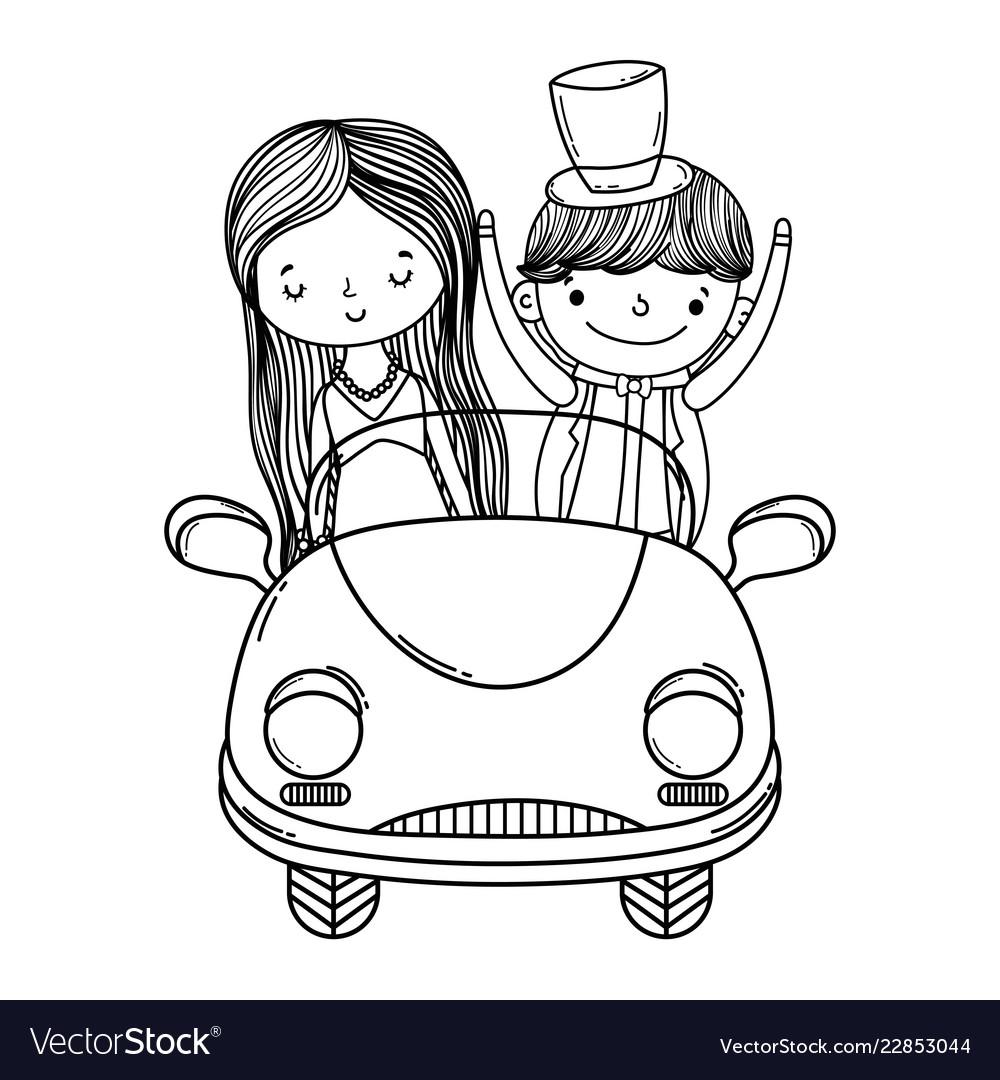 Wedding couple and car cute cartoon black and