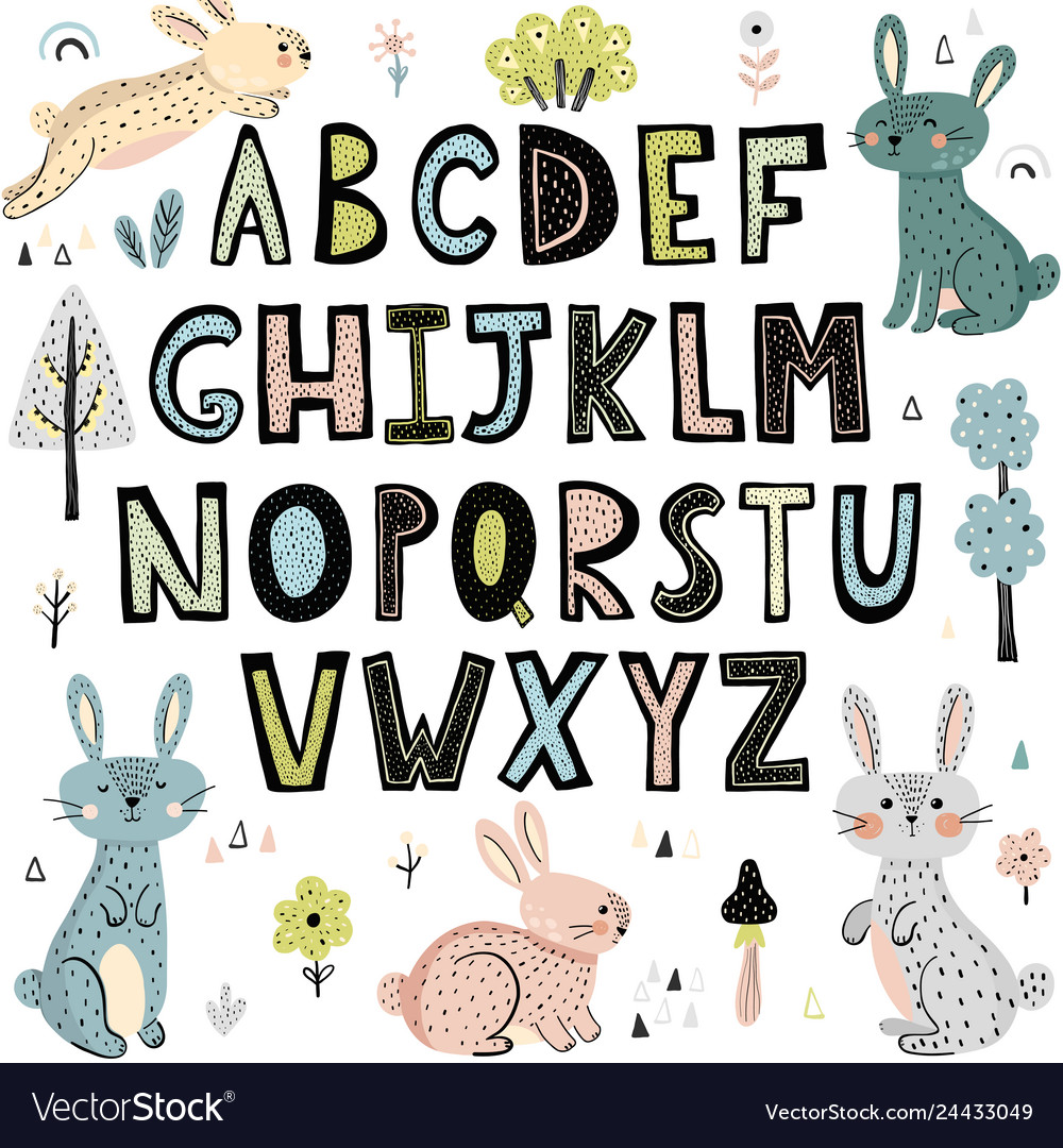 Alphabet with cute rabbits