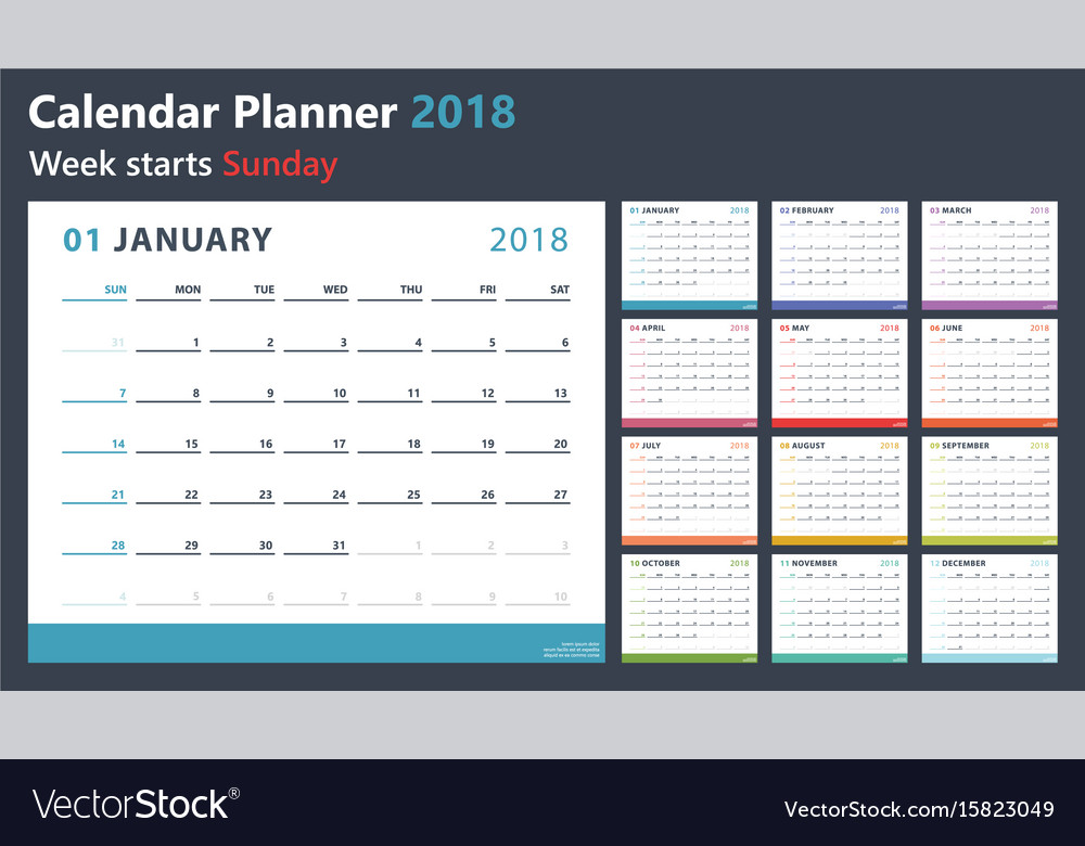 Calendar planner for 2018 starts sunday