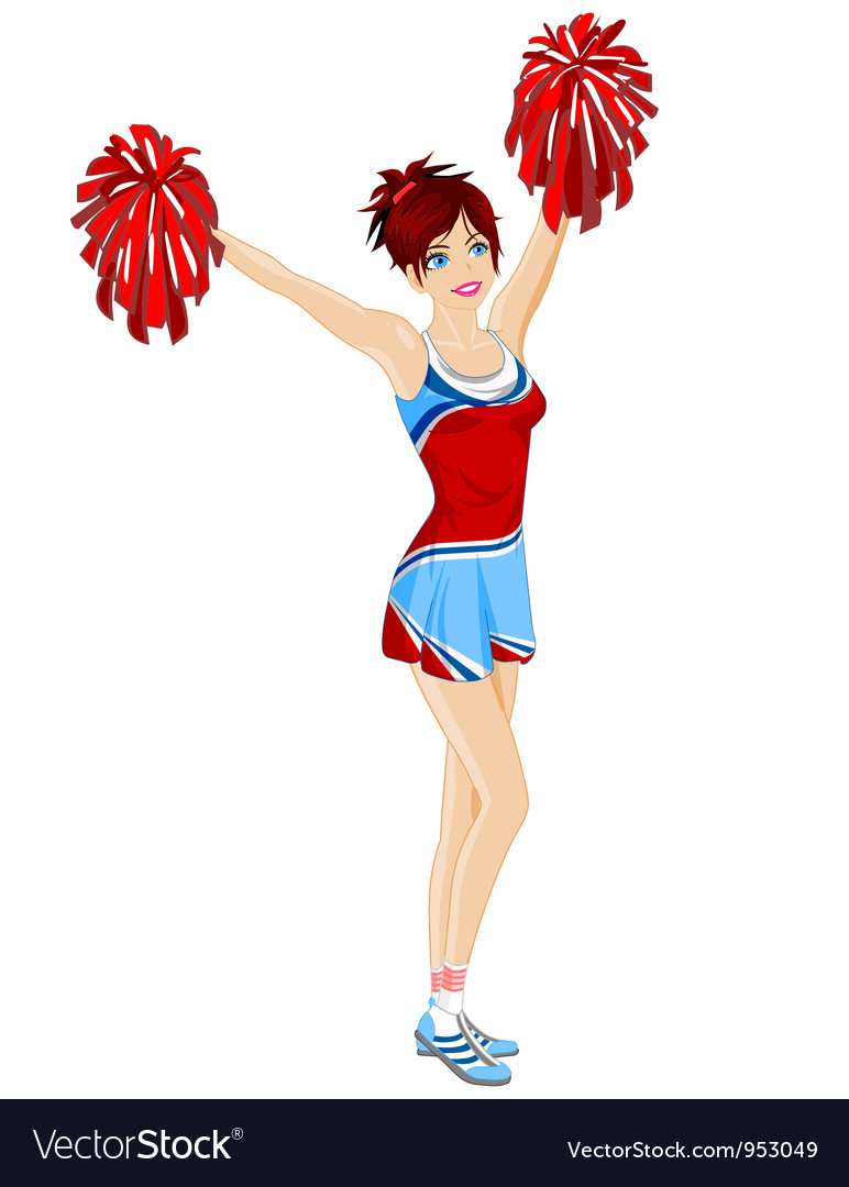 Cheerleader with poms