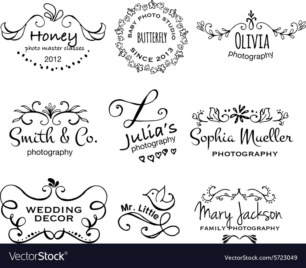 Collection of photography hand drawn logo