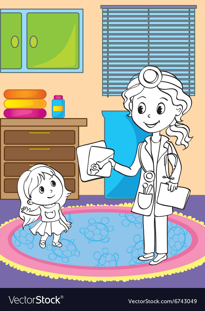 Coloring Book Of Doctor Showing X Ray Pictures Vector Image