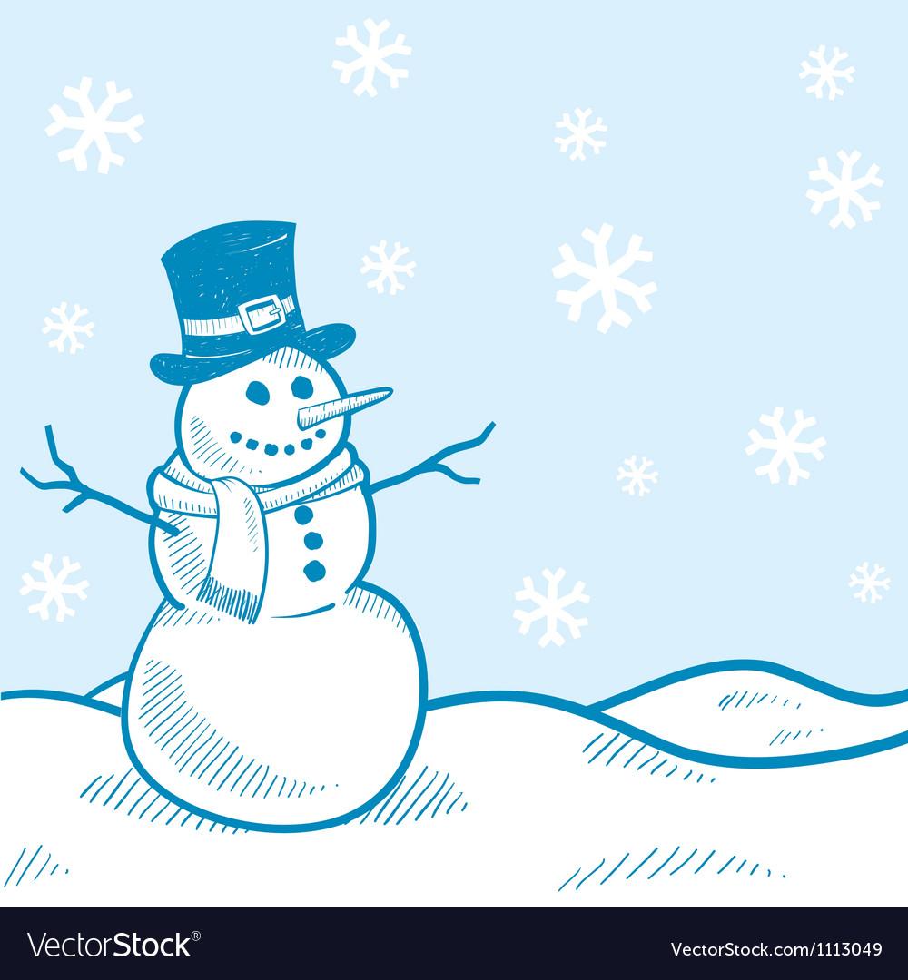 Doodle snowman winter scene