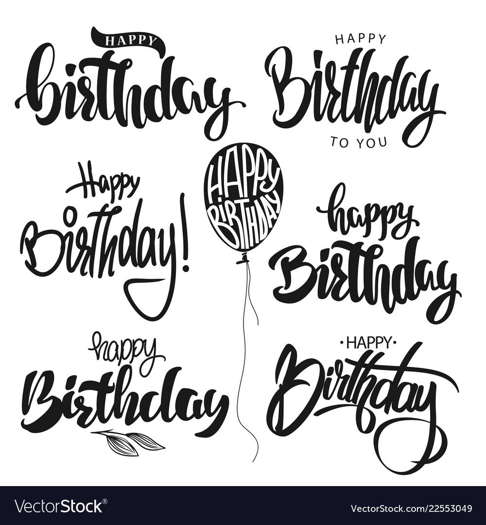 Happy Birthday Calligraphy Hand Lettering Set Vector Image