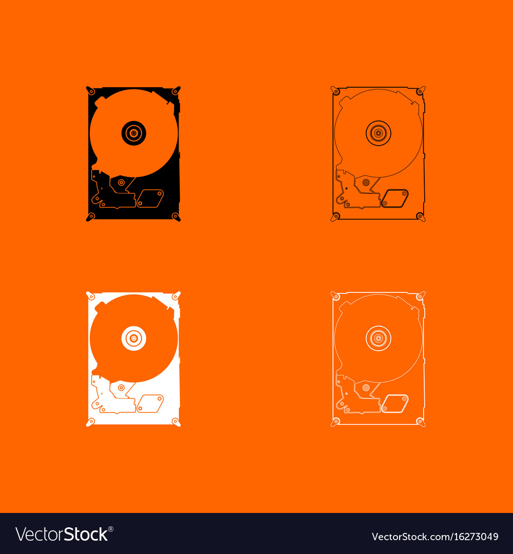 Hard drive disk black and white set icon vector image
