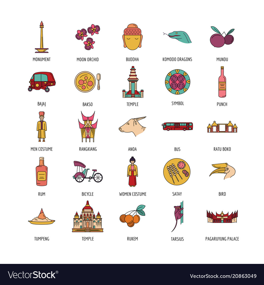 Indonesia icons set cartoon style