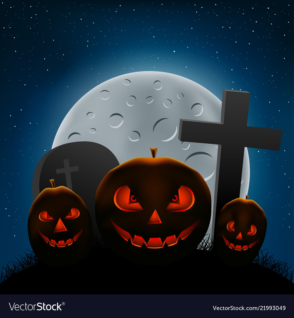 Scary Halloween Pumpkins Night Royalty Free Vector Image