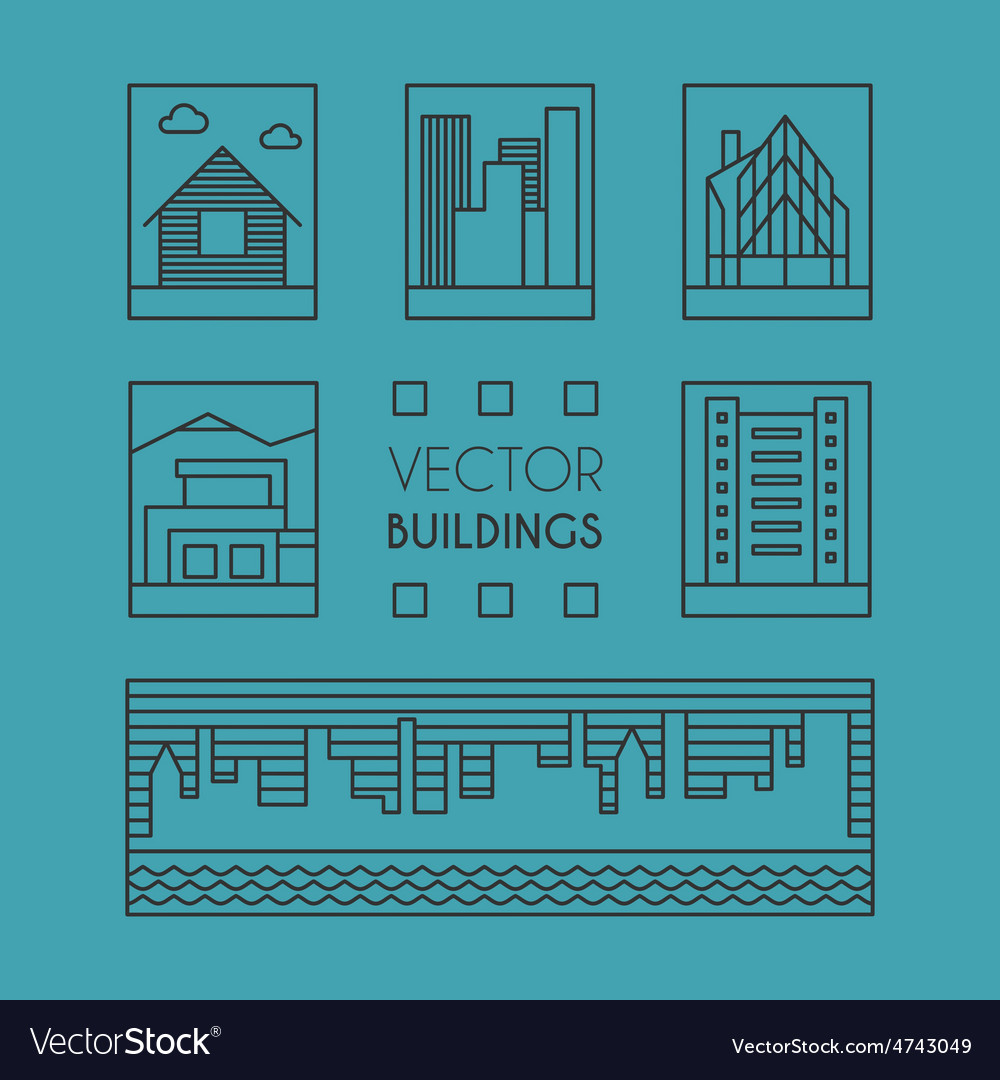 Set of Line Art of Buildings Thin Line Graphic