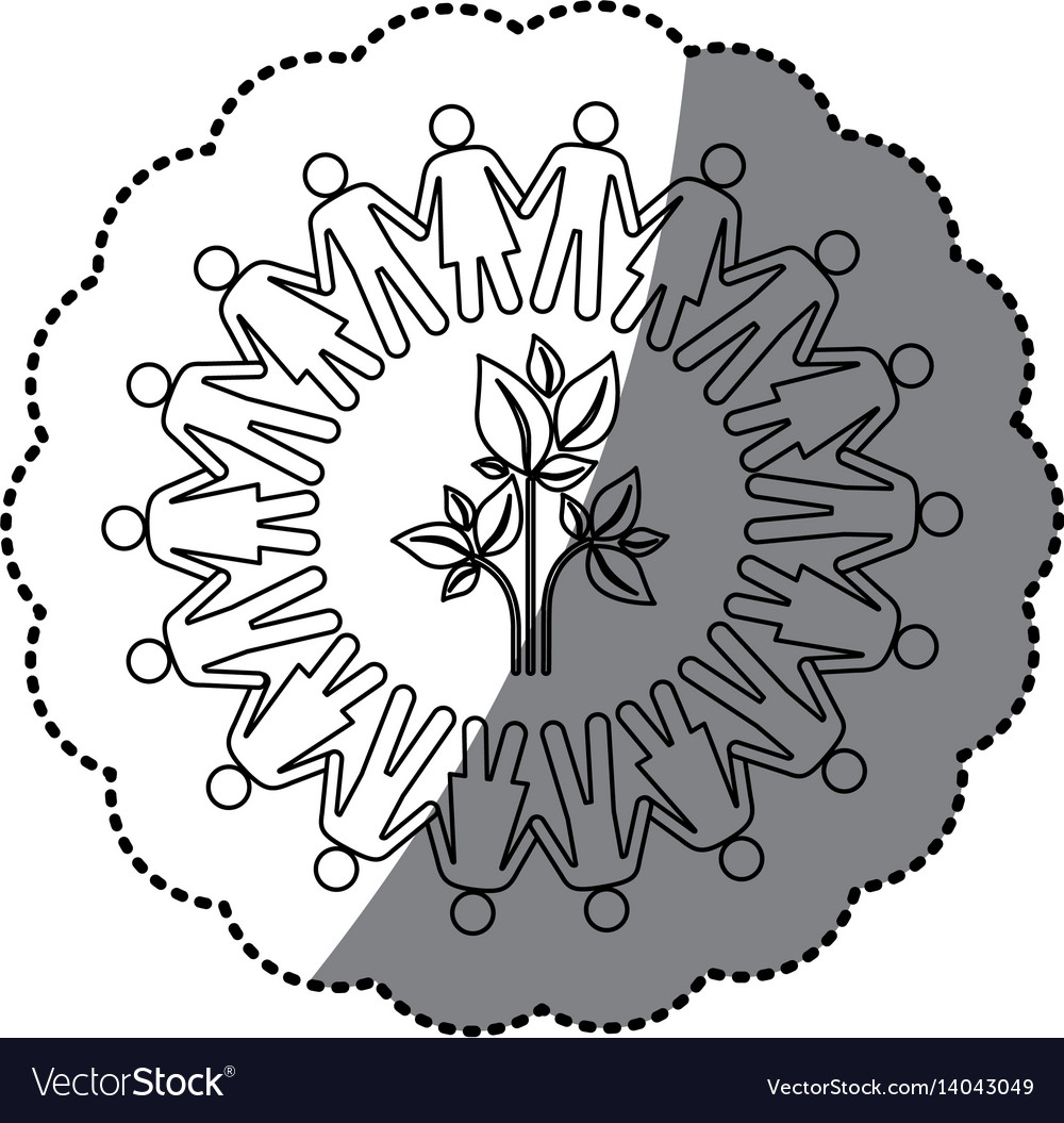 Sticker silhouette teamwork human people circle vector image