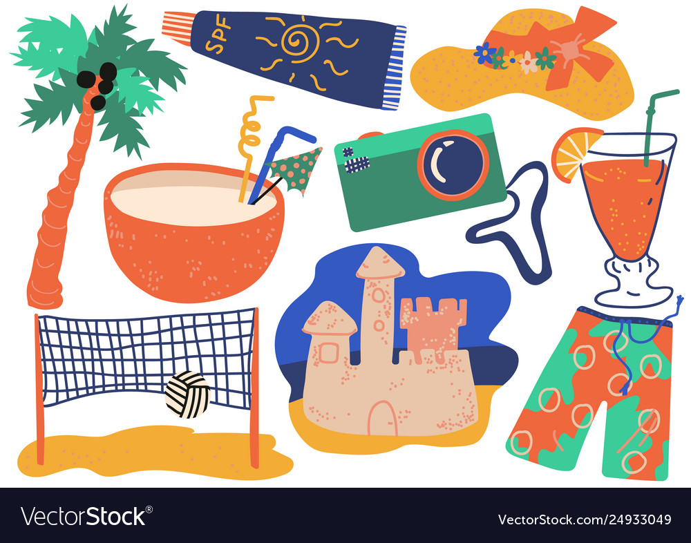 Summer holiday symbols set cocktail shorts