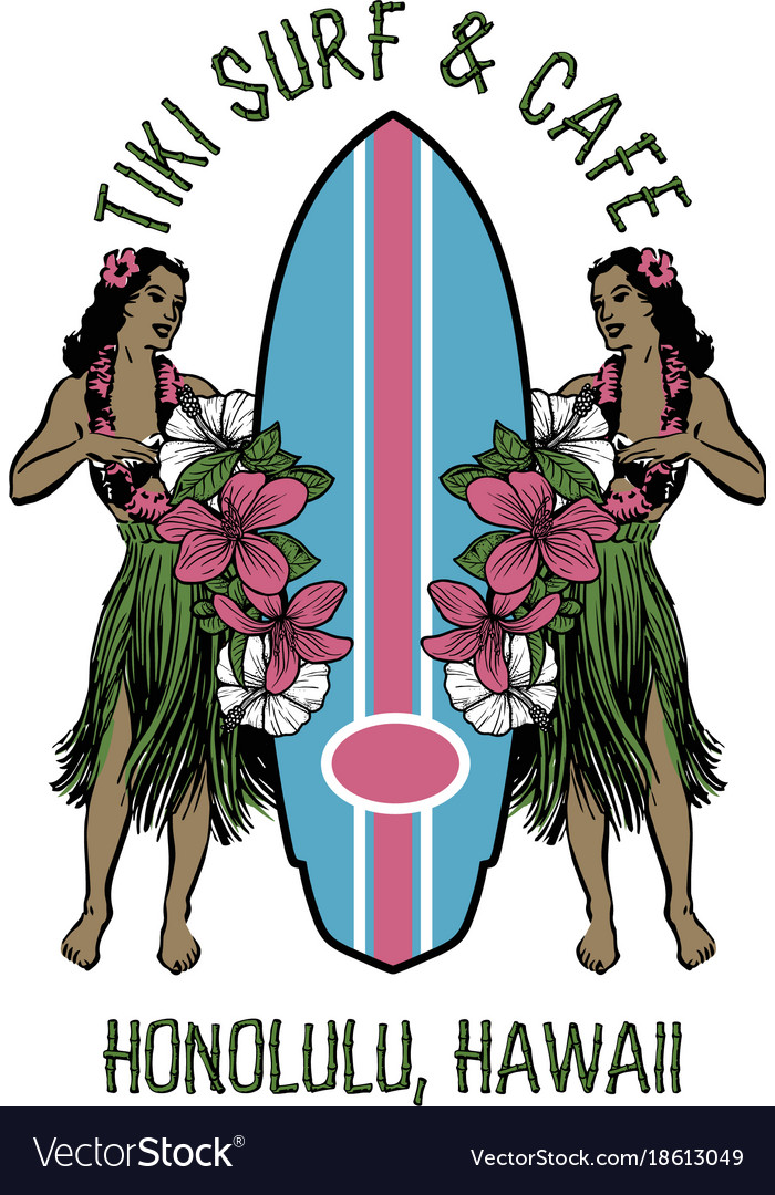 Twin hula girls vector image