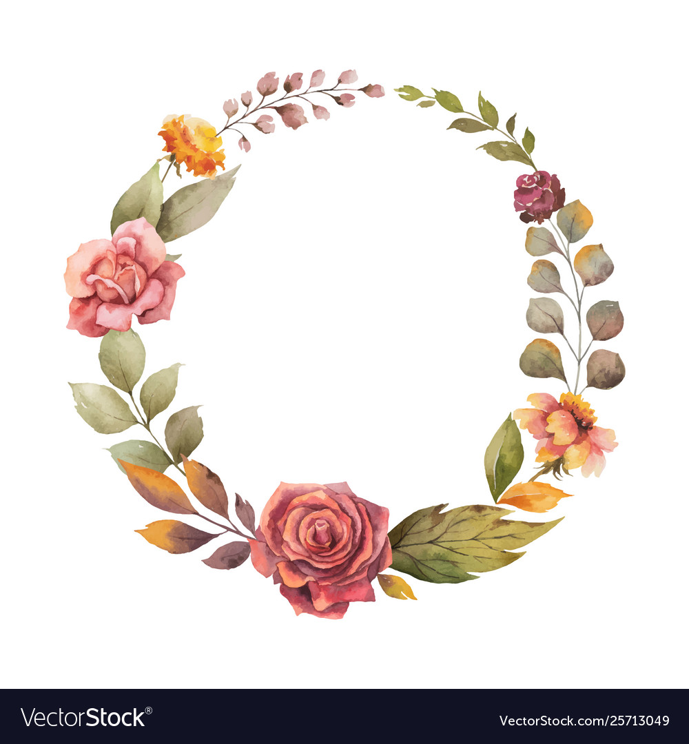 Watercolor autumn wreath with red rose and