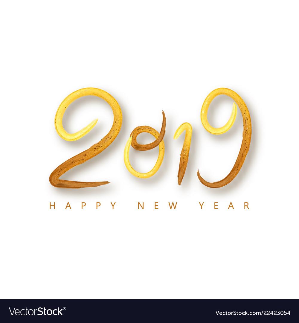 2019 happy new year a golden brushstroke oil or