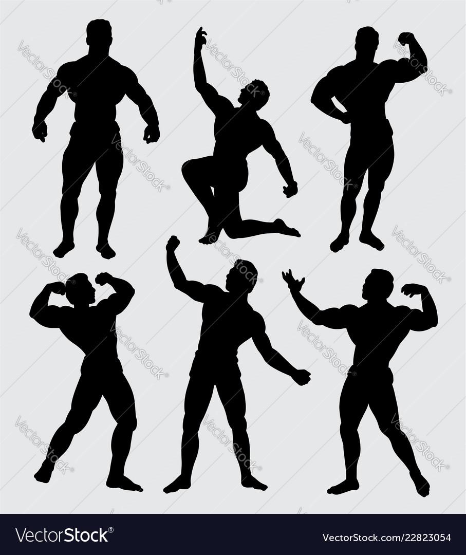 Body building sport silhouette