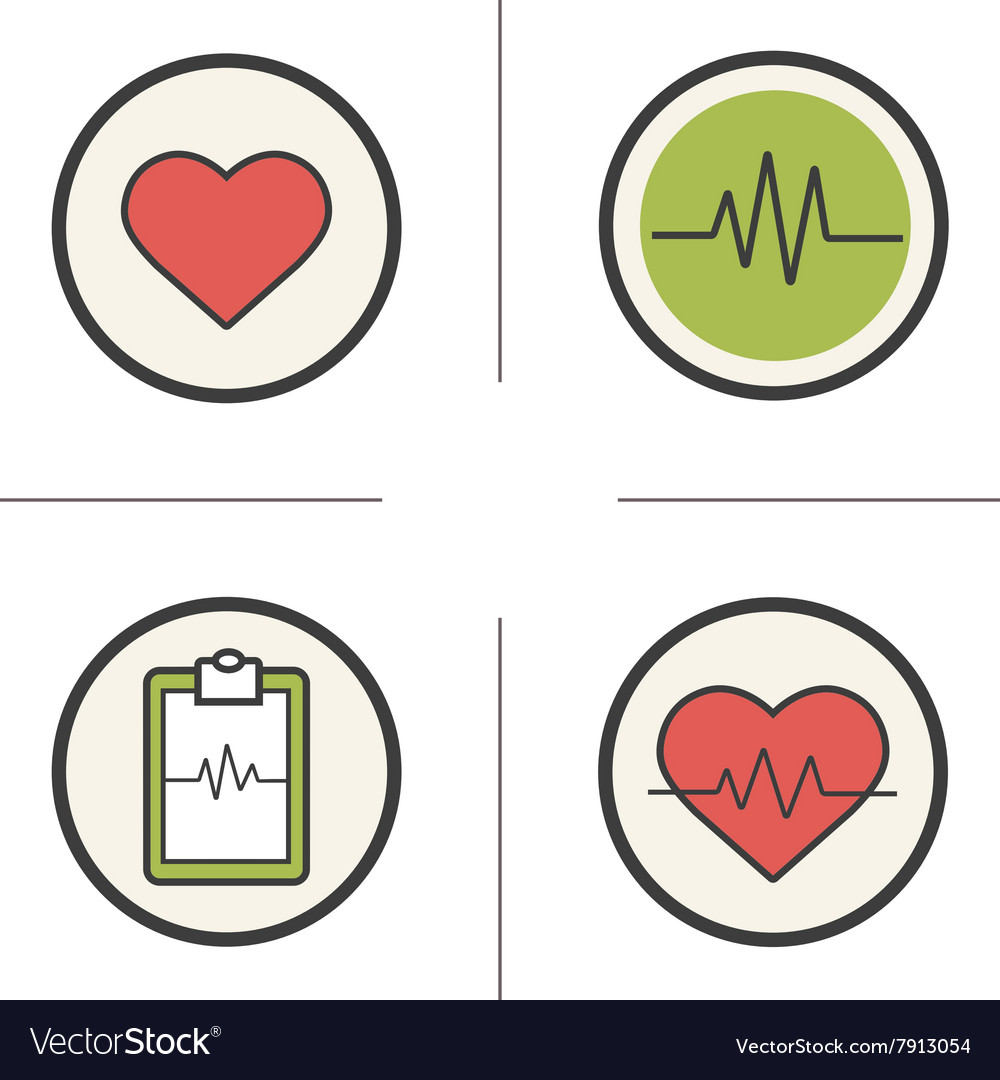 Cardiology color icons set