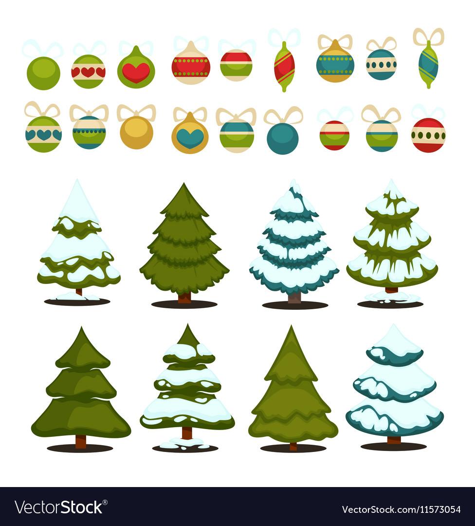 Christmas tree Set of christmas green trees and