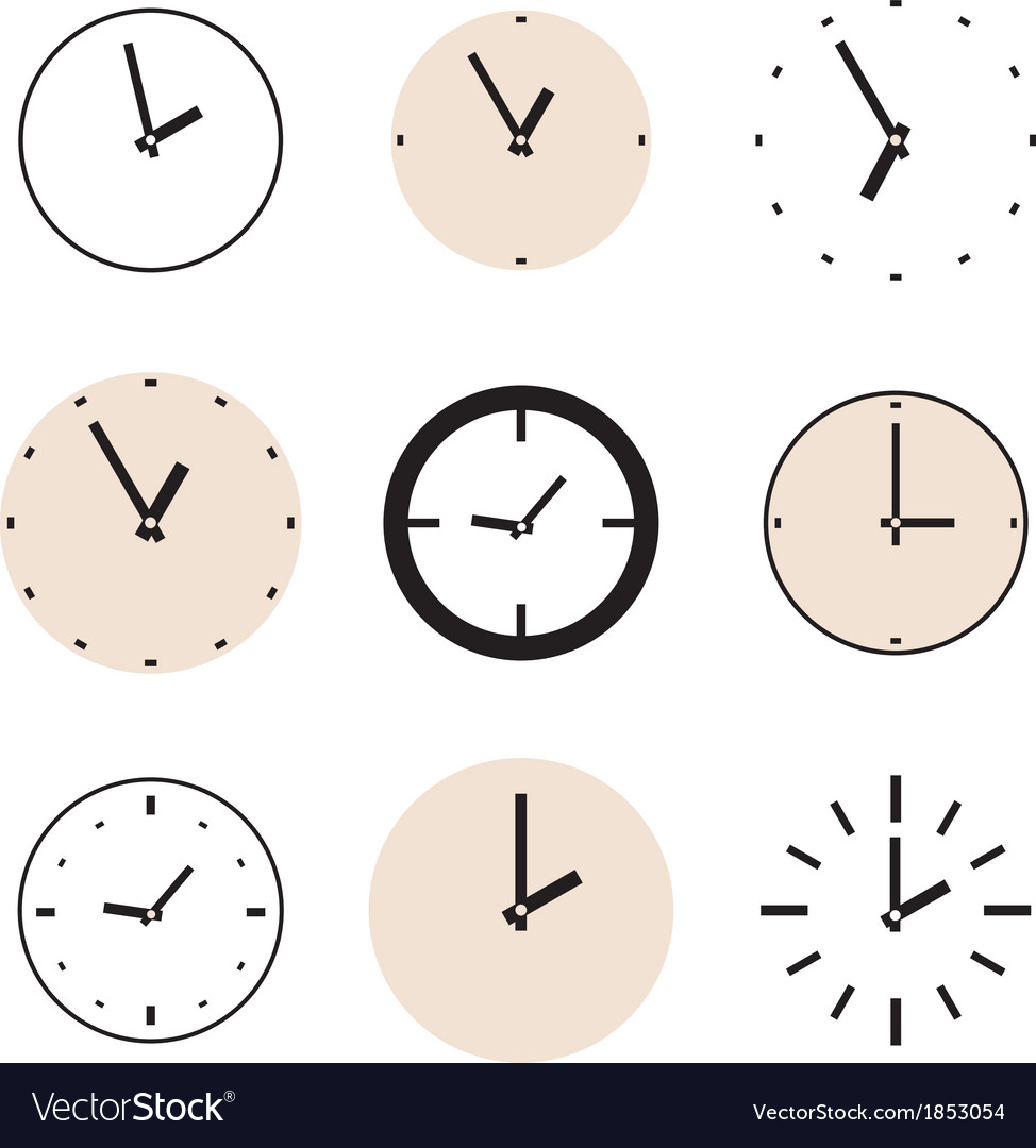 Clock icon set beige and black clocks isolated