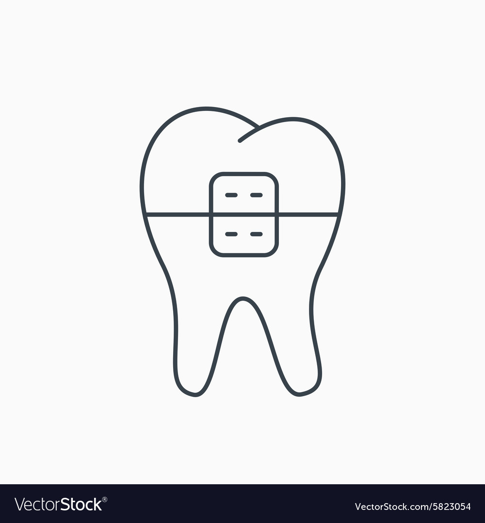 Dental braces icon tooth healthcare sign vector image ccuart Choice Image