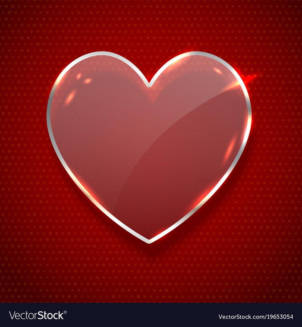 Glass heart symbol realistic