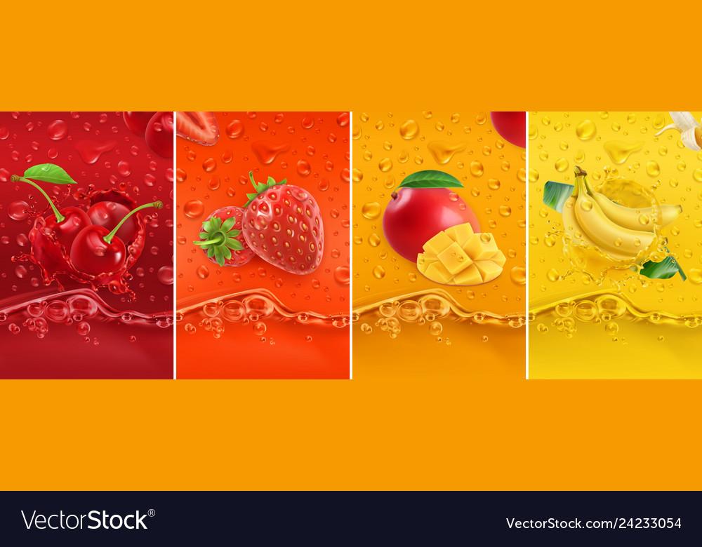 Juicy and fresh fruit cherry strawberry mango