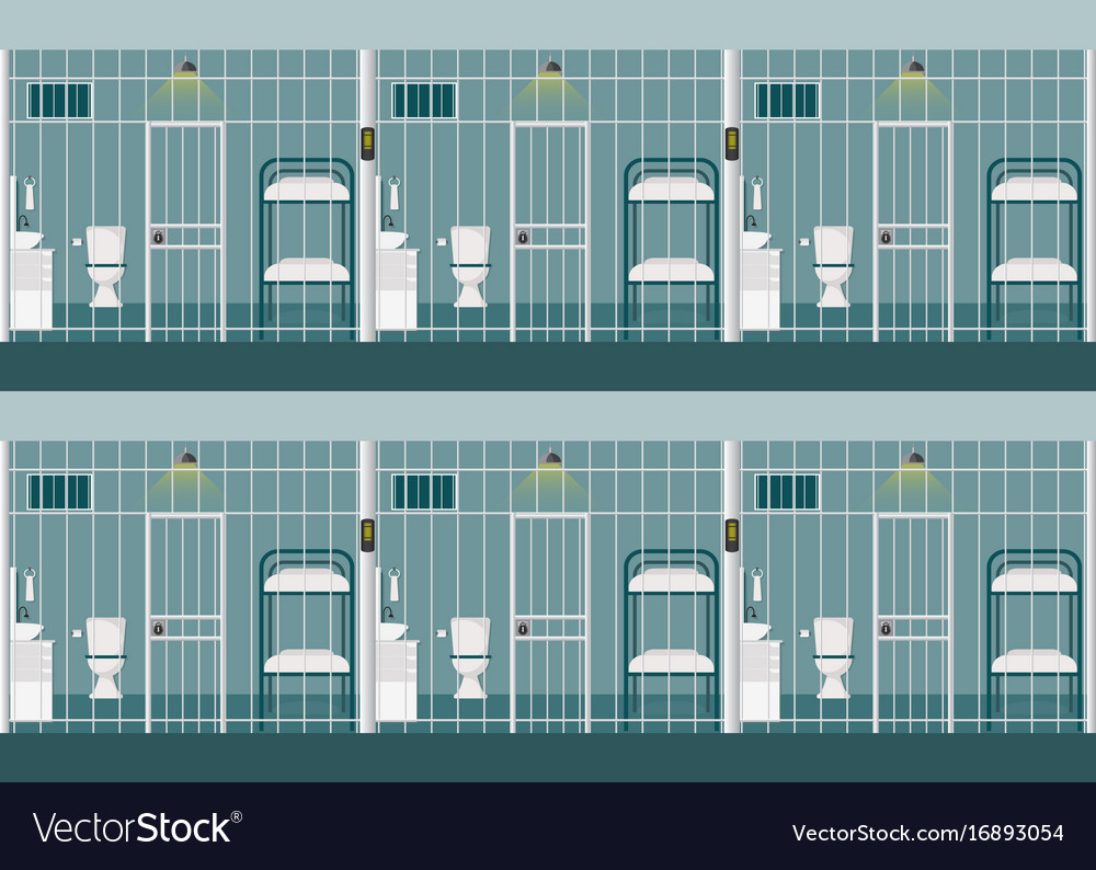 rows of prison cells royalty free vector image