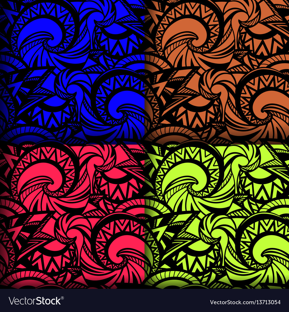 Set of 4 seamless boho patterns vector image