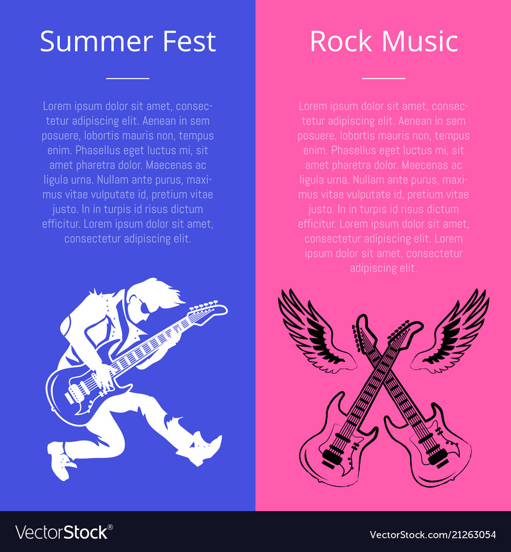 Summer fest rock music poster with man play guitar