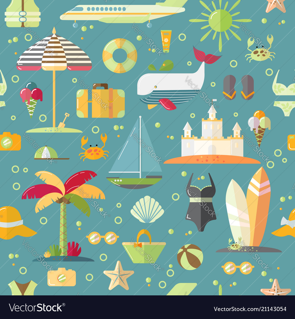 Summer flat seamless pattern with holiday