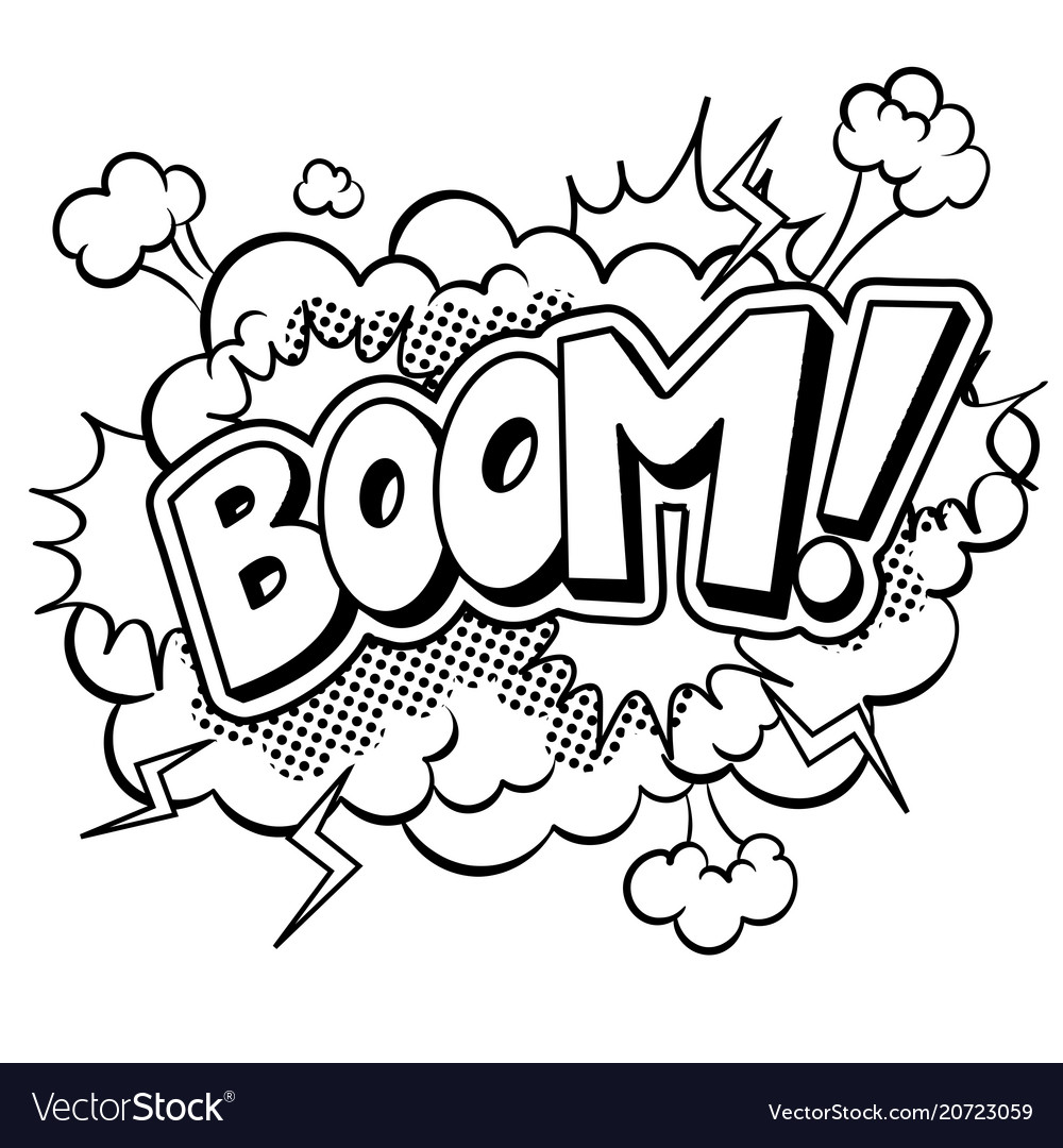 Boom word comic book coloring Royalty Free Vector Image