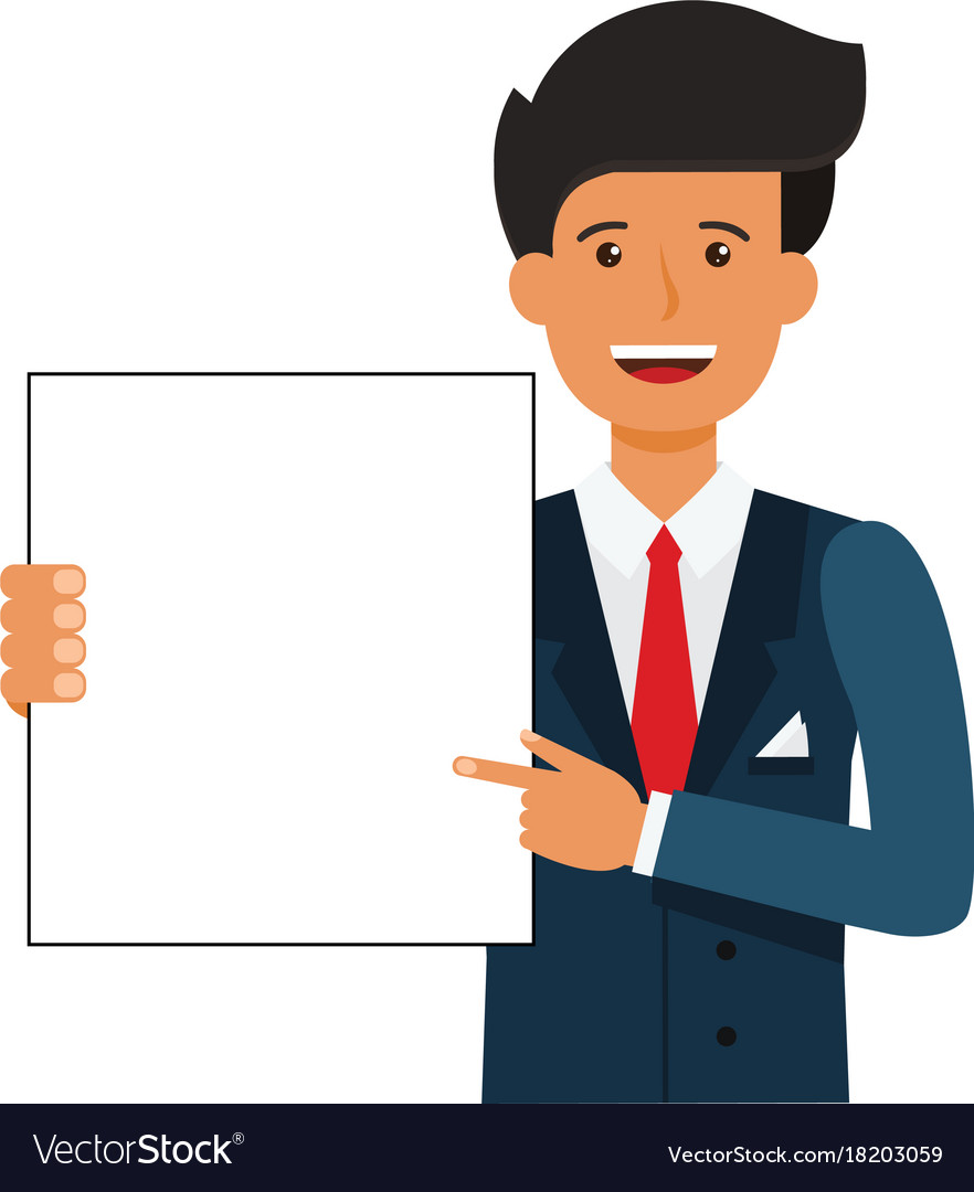 Businessman showing blank document cartoon flat