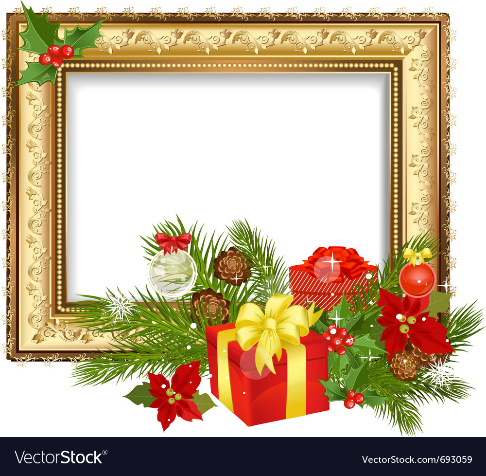 Christmas ornament frame Royalty Free Vector Image