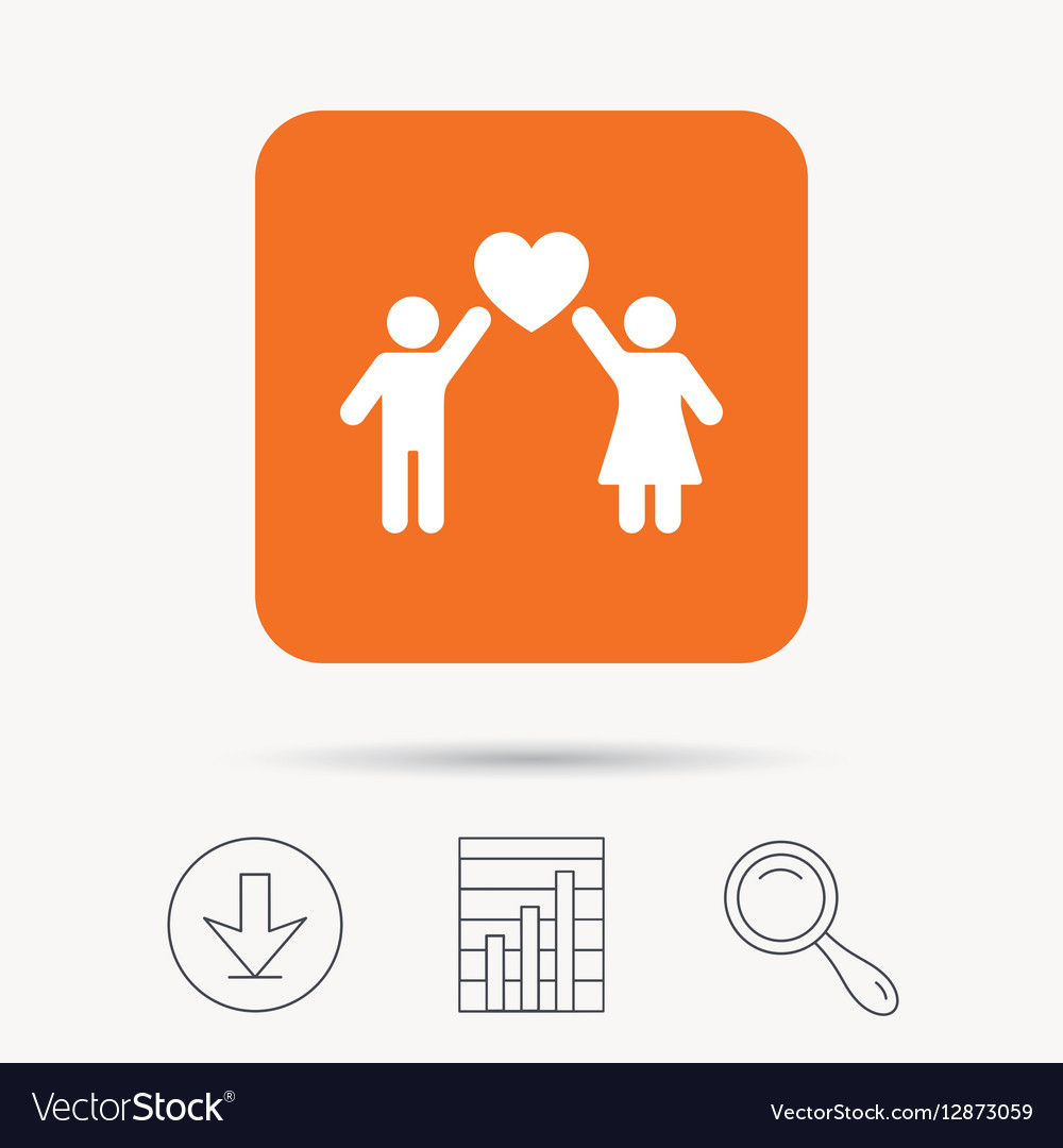 Couple love icon Traditional young family sign