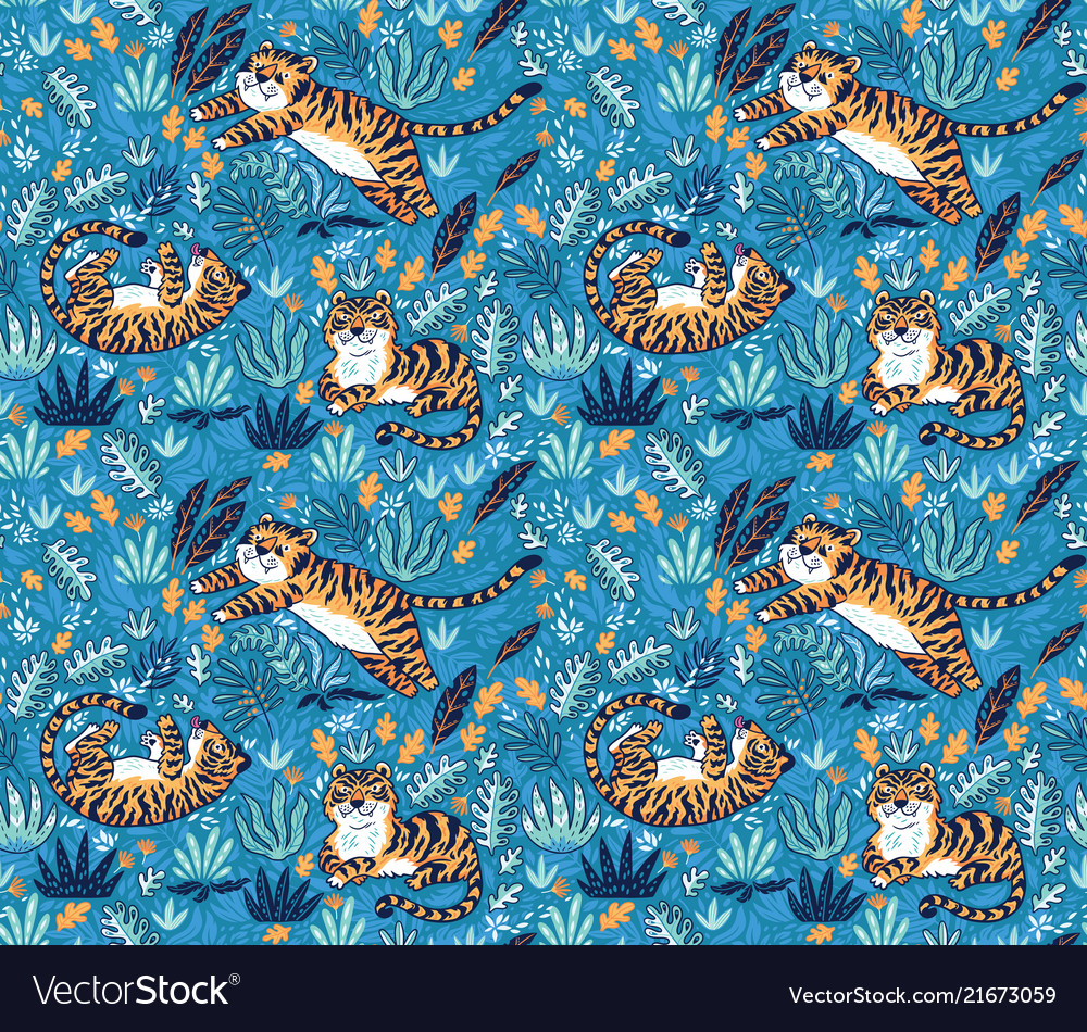 Cute tigers playing together seamless pattern