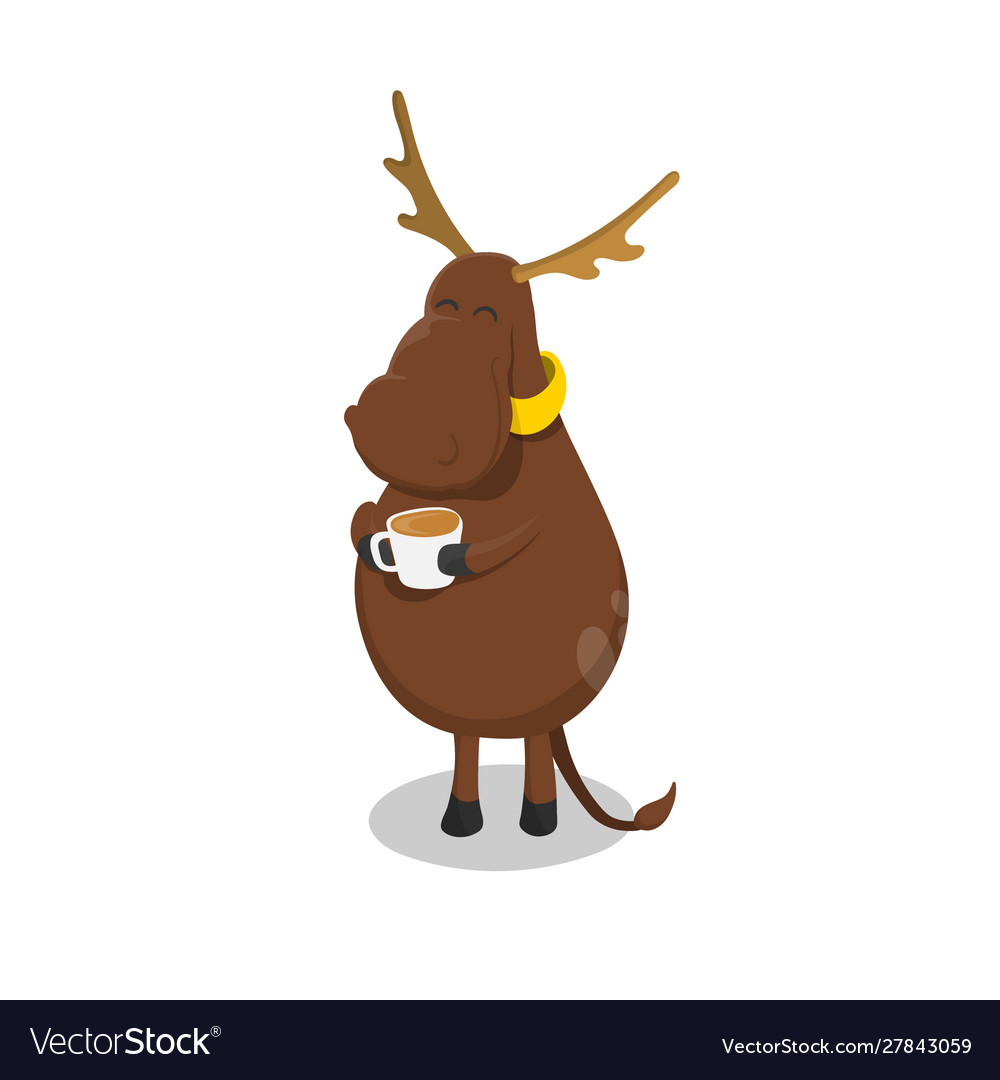 Deer with cup tea elk drinking coffee vector