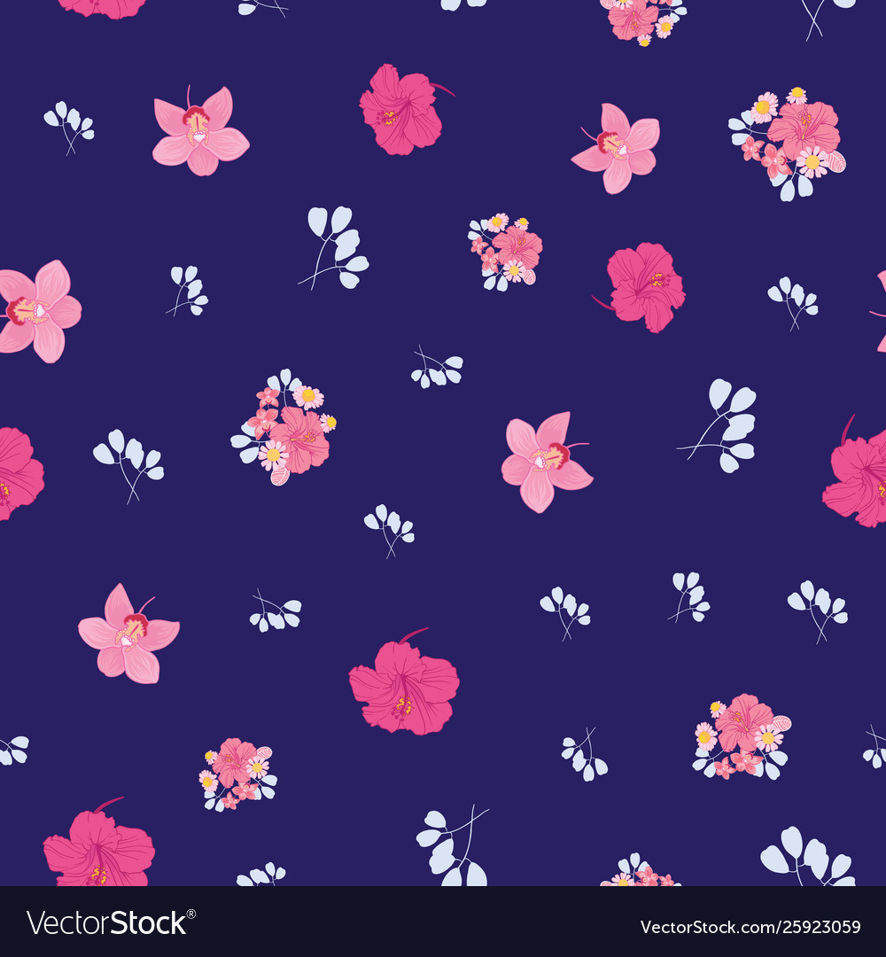 Ditsy tropical flowers seamless pattern print