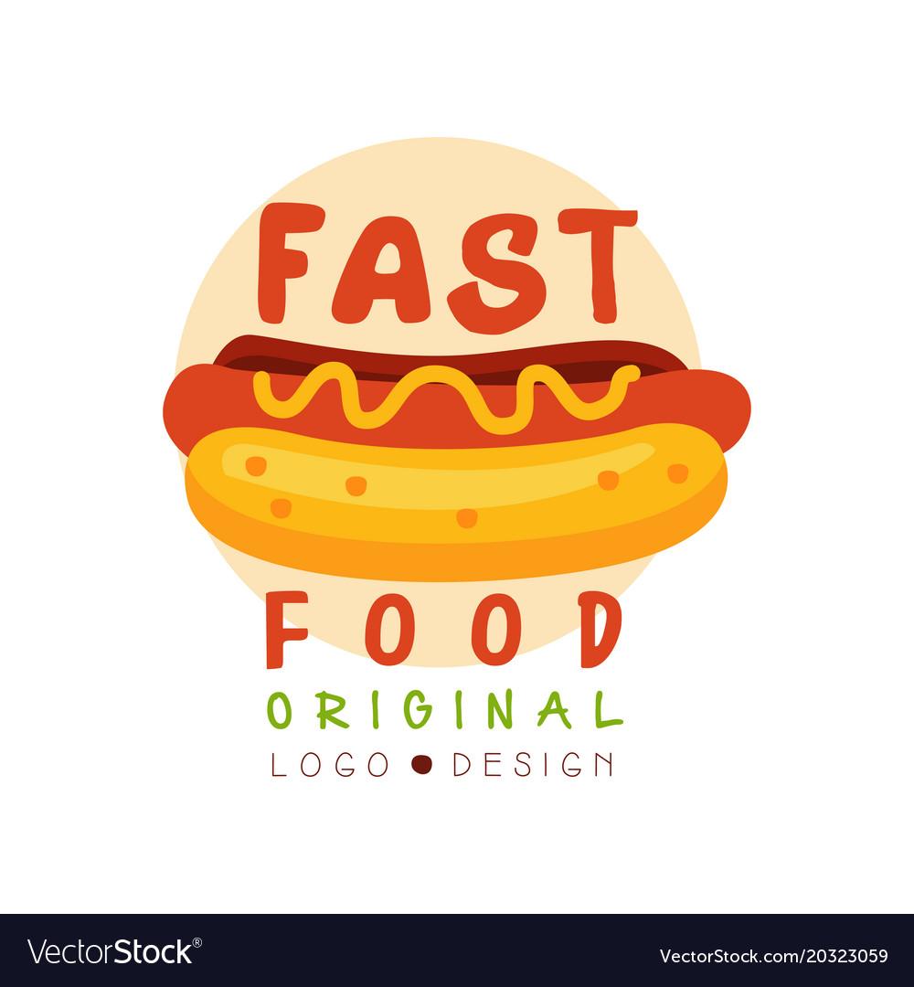 Fast food logo original design badge with hot dog