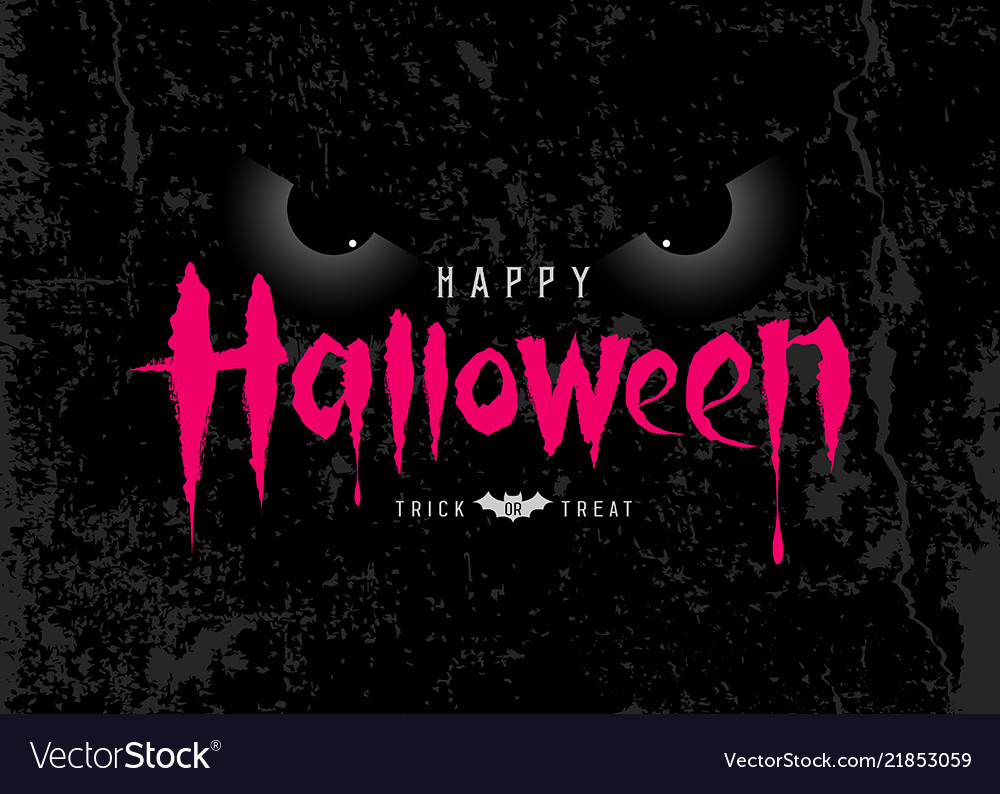 Happy halloween pink message with spooky eye