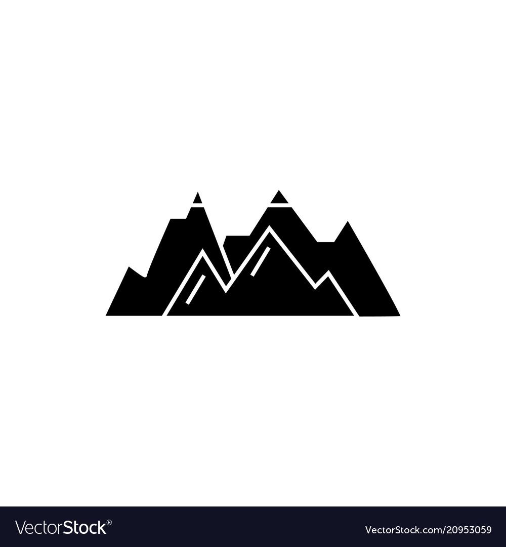 Mountains black icon concept mountains
