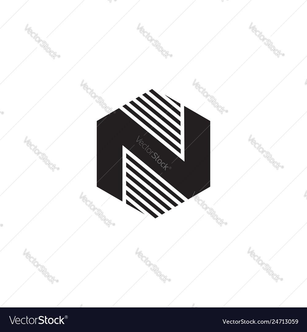 N hexagon black logo