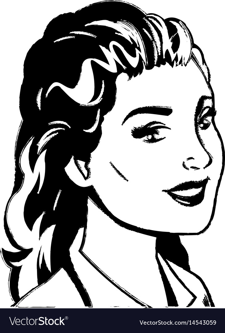 Portrait woman pop art sketch