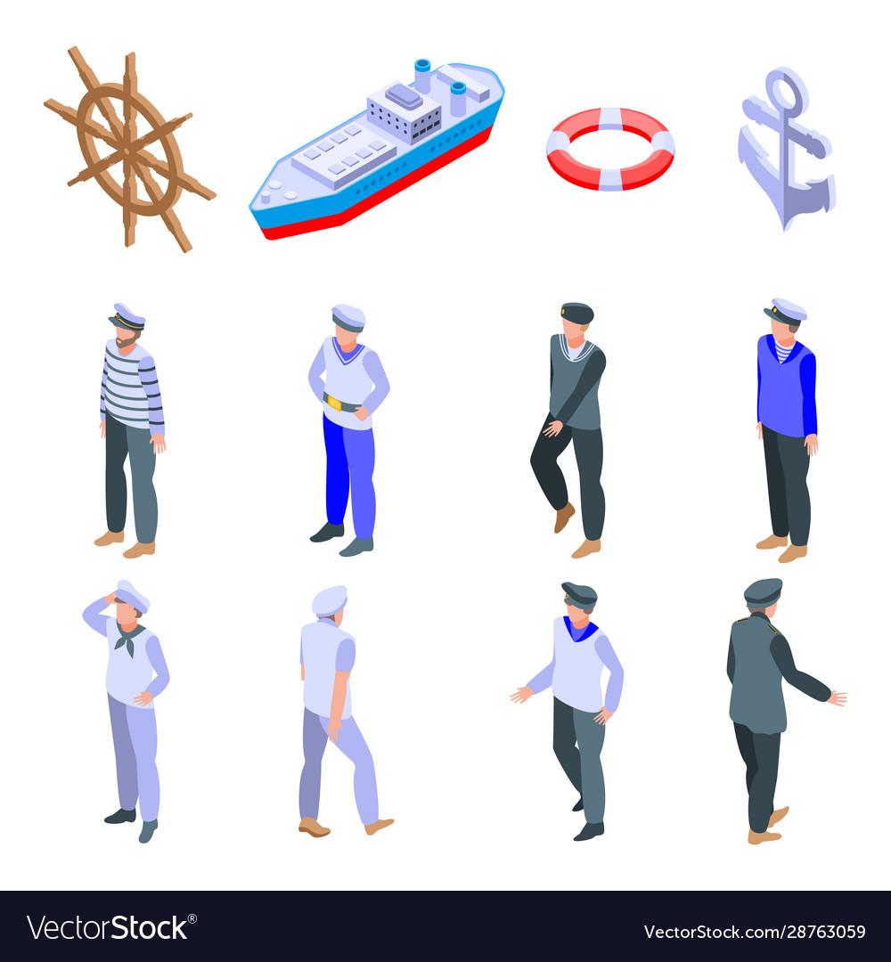 Sailor icons set isometric style