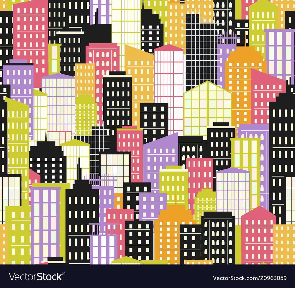 Seamless urban landscape city background bright