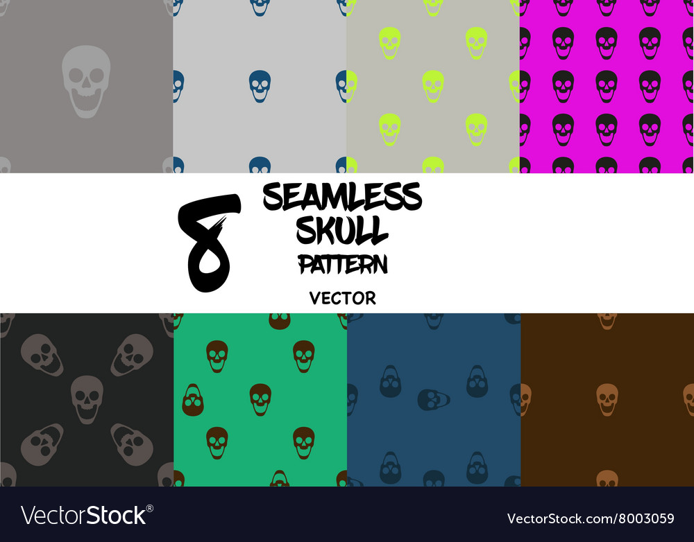 Set of skull seamless pattern