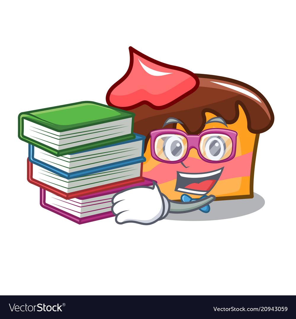 Student With Book Sponge Cake Mascot Cartoon Vector Image Huging