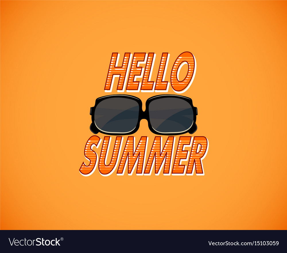 Yellow retro background with hello summer and