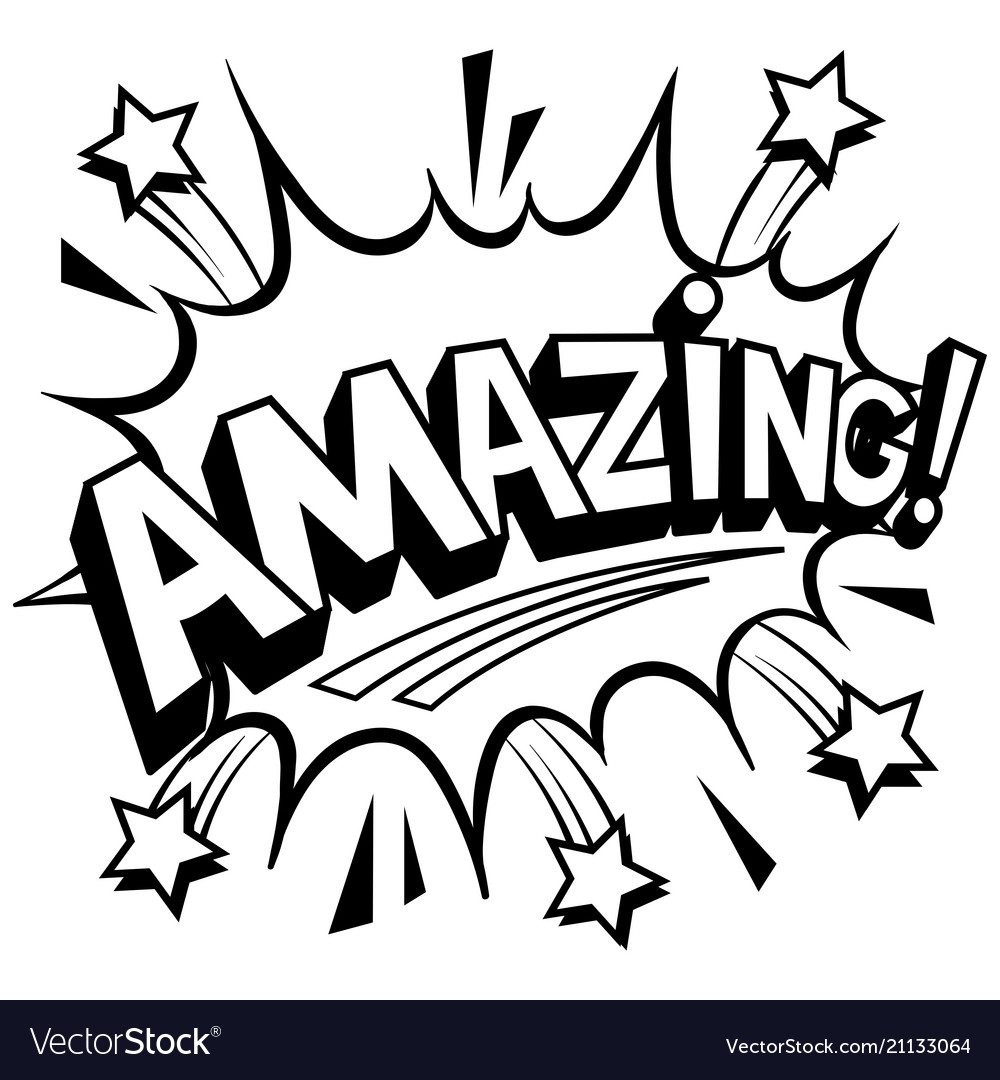 The Word Amazing: Amazing Word Comic Book Coloring Royalty Free Vector Image