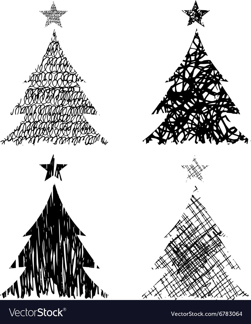 Christmas Trees Drawing.Christmas Trees With Drawing Structure